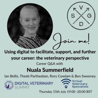 VVS founder and Cardiologist Nuala Summerfield will be joining the @vetssgd careers panel at 19:00 BST TONIGHT!⠀ ⠀ The panel of veterinary digital pioneers explore how digital technology has furthered their careers.⠀ ⠀ Together they will discuss how the veterinary profession can use a variety of new digital solutions to empower them in the workplace, improve their productivity and support the next generation of talent.⠀ ⠀ Register here https://bit.ly/DigitalCareersPanelVSGD⠀ ⠀ Key topics include:⠀ * Case studies: how digital technologies can support the development of veterinary careers⠀ * Identifying the current challenges and opportunities in the profession and how digital can help overcome them⠀ * Advice for vets struggling to balance implementing digital solutions with the demanding pace of the job⠀ * Audience Q&A and networking⠀ ⠀ Joining Nuala on the panel is:⠀ 💡 Rory Cowlam and Ben Sweeney, co-founders of VidiVet⠀ 💡 Ian Bellis BVM&S Cert AVP(ESO) MRCVS, co-founder, Equicall and Equicomms⠀ 💡Navaratnam Partheeban, Dairy Technical Specialist alongside Phibro⠀ ⠀ https://bit.ly/DigitalCareersPanelVSGD